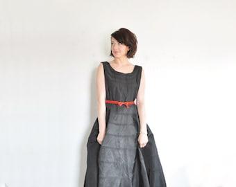 little black mid century modern dress . 1950 textured circle skirt .medium.large .sale