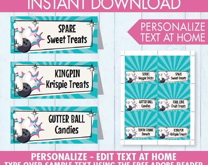 Bowling Party Food Labels - Buffet Tags, Bowling Bash Birthday, Bowling Party - Pink - EDITABLE Text - INSTANT Download Printable PDF