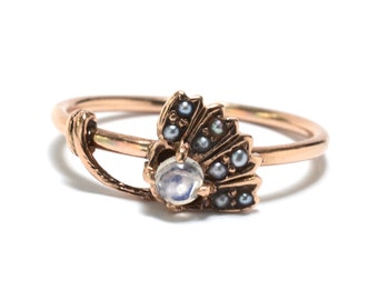 Art Nouveau Rose Gold Moonstone & Seed Pearl Dandelion Ring - Size 6 1/4