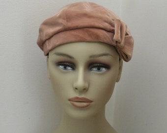 Vintage Tan Velour Tam Beret with Bow