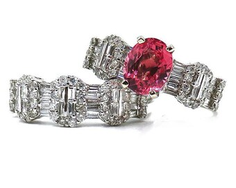 Padparadscha Sapphire and Diamond Engagment Ring and Bridal Set/ AIGL Lab Appraisal Report included