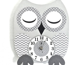 Superb Owl Clock Wood Clock Owl Nursery Decor Owl Decor Childrenu0027s Clock Kids Owl  Clock Gray Nursery Part 26