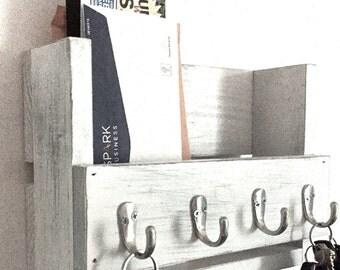 Rustic key holder- mail organizer - wooden key rack- reclaimed wood- entryway shelf-  key hooks- distressed farmhouse decor