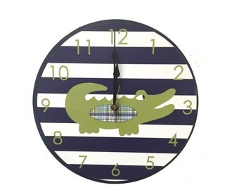 alligator nursery alligator clock wooden alligator nursery clock alligator wall decor alligator wall art wall hanging alligator madras