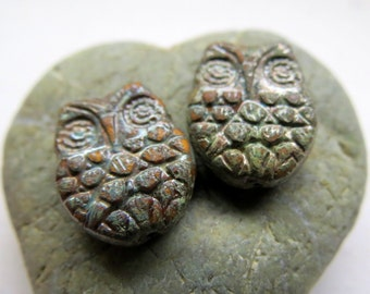 Back in Stock TERRACOTTA WINGZ. Czech Picasso Glass Beads . 18 mm (4 beads)