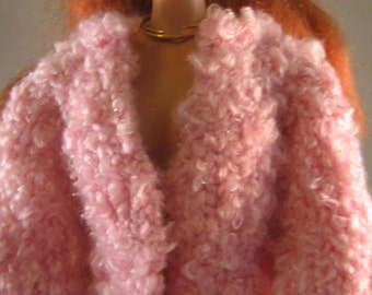 Hand Knit Doll Clothes Nubby Pink Jacket Coat fits 16 inch fashion doll such as Tonner Tyler