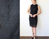 Crochet Dress / Black Daisy Dress with Peter Pan Collar / Little Black Dress Sz S
