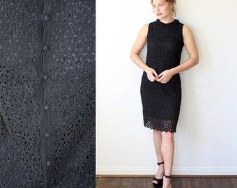 Crochet Dress / Black Daisy Dress with Peter Pan Collar / Little Black Dress Sz S