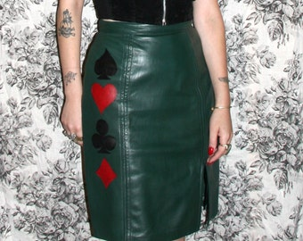 Playing Cards Skirt / Leather Skirt / Hand Painted Leather Skirt Sz XS / S