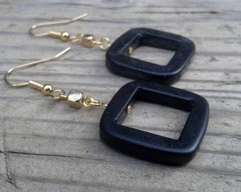 Square Beaded Earrings, Gold Square Earrings, Gold Earrings, Black Earrings, Dangle Earrings, Gift, Indie Earrings