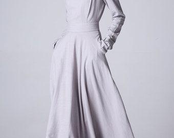 grey dress, linen dress, custom made, maxi dress, long sleeves dress, fitted dress, spring dress, womens dresses, ruffle dress (1181)