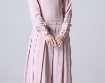 Maxi dress Pink Linen Dress Women Maxi Dress causal dress (1182)