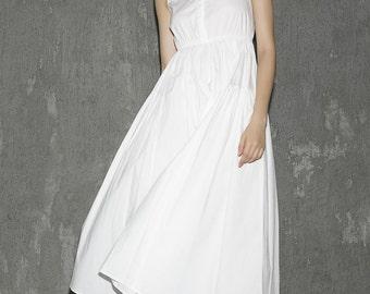White cotton dress women maxi dress (1302)