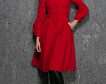 Red wool coat, Winter Coat, fit and flare coat,  red coat, winter jacket, dress coat , swing coat, wool coat women, ladies coats, gift 1330
