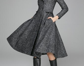 fit and flare coat, Swing Coat, double breasted coat, dress coat, wool coat, Grey coat, winter coat,Winter Jacket, Womens outfits(1373)