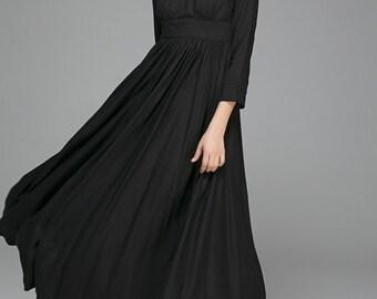 Linen dresses for women,Black dress, Maxi dress,Linen Dress, long sleeve dress, Fit and flare dress, Empire dress,LBD, Custom made  1394