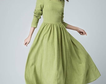 Sage dress, maxi dress, long dress, linen dress, ruffle dress, party dress, prom dress, spring dress, pleated dress, handmade dress (1475)