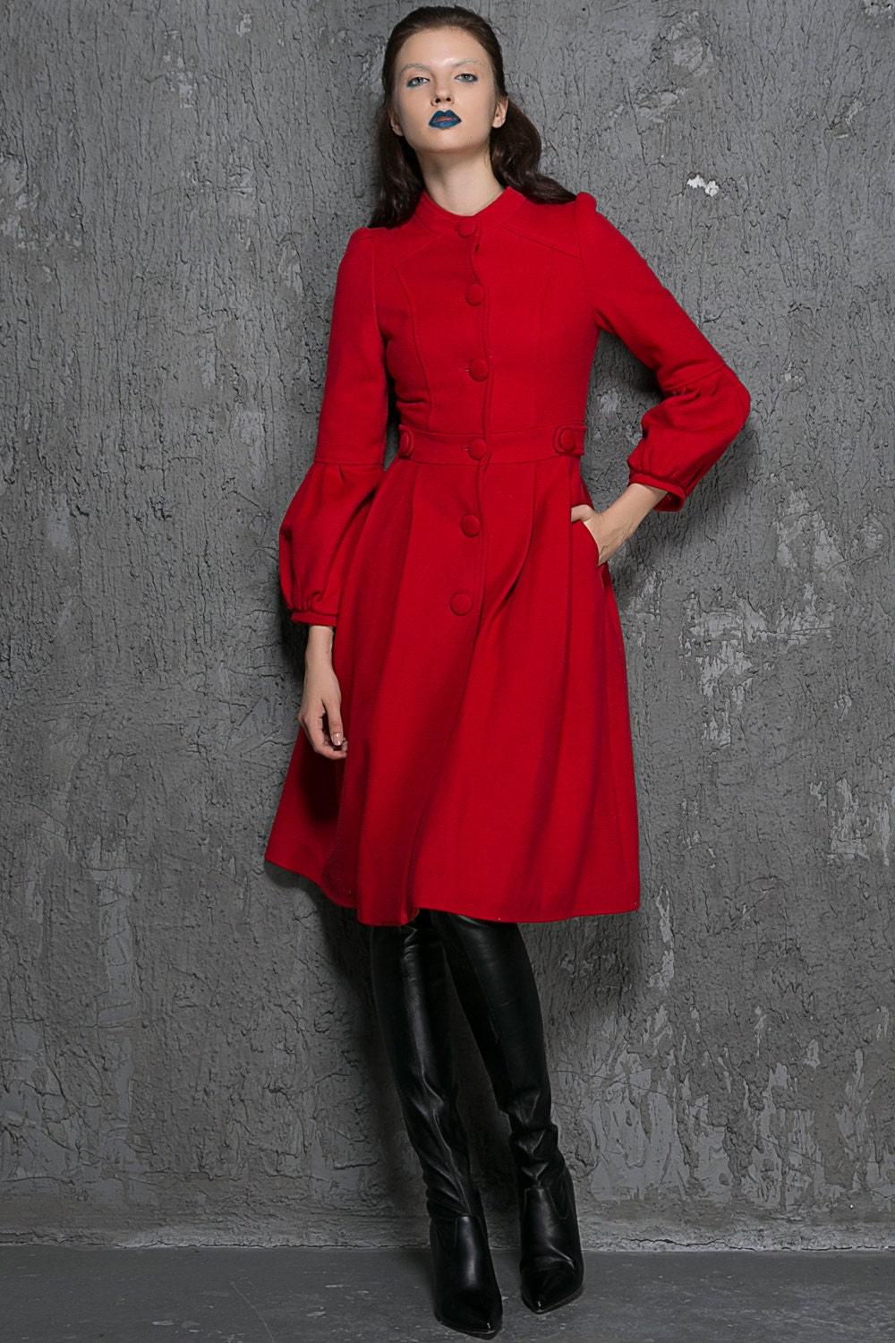 Red wool coat women winter coat fit and flare coat red