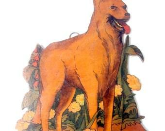 Vintage Wooden Transfer Ornament, Image Photo, Decoupage, Cutout German Shepherd Dog,Flowers, Lady Bug,Home Decor,Ornament Keepsake, 1940s