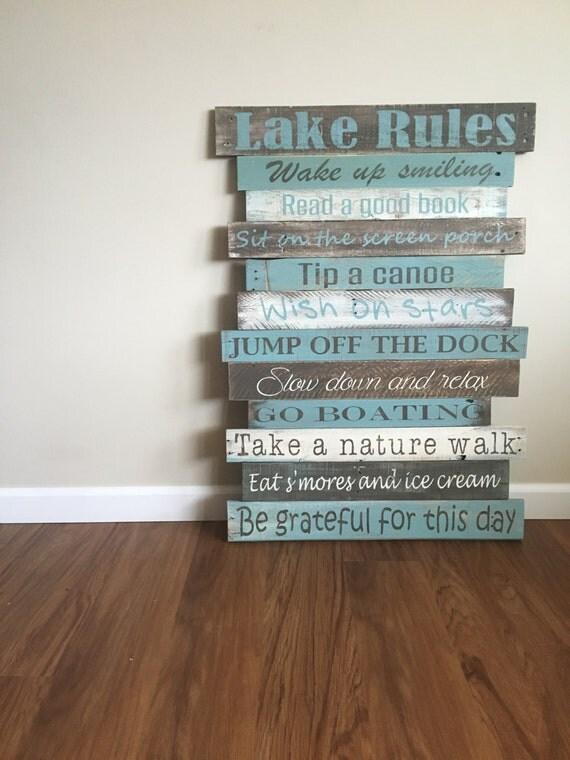 Lake Wall Decor Lake Rules Sign Reclaimed Wood Rustic Lak On Sunset Print Lake Wall Art Ocean Fall Decor O