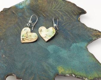 Rustic Heart Pottery Heart Earrings, Sweet Wild Roots Branches, Green Cream Black Brown HET