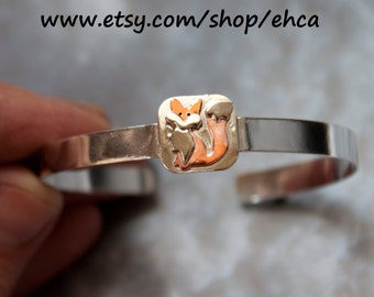Handmade Sterling Silver Fox Cuff Bracelet