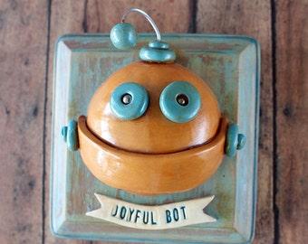 Joyful Bot MINI WALL ART 3D Robot Sculpture - Clay, Wood, Wire