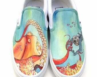 Custom Vans Hand Painted Shoes- Octopus & Scuba Diver