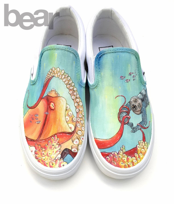 custom vans painted shoes octopus scuba by beargallery