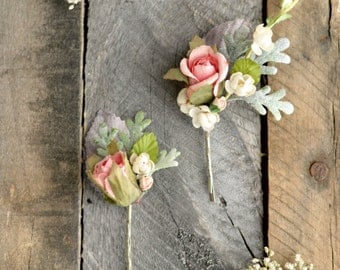 Vintage flower hair clips, wedding rose hair pins, pastel floral bobby pins, woodland bobby pins, flower girl clip, hair accessories