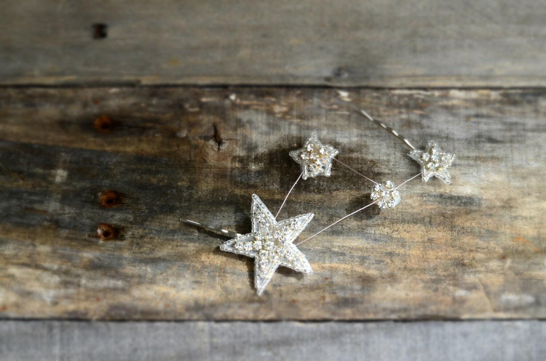 Star hair pins constellation hair clip rhinestone hair