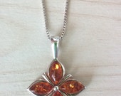 SALE...Gorgeous Honey Amber Sterling 925 Flower/ Alhambra Style Necklace