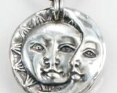 Sun/Moon Pendant - Mariner - Day/Night - Celestial - Nautical Ritual Talisman - Fine Silver - Artisan Handmade