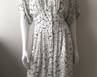Vintage Women's 80's J.B. Too Dress, Cream, Black, Abstract Print, Knee Length (M/L)