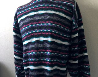 Vintage Men's 80's Geometric Sweater, Colorful, Pull Over by Purple Crest (XL)