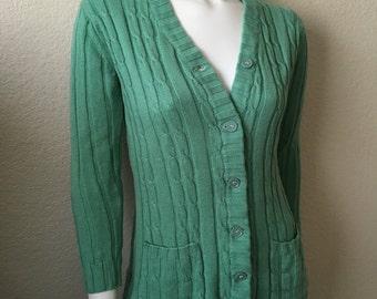 Vintage Women's 70's Loubella, Cardigan Sweater, Sea Foam Green, Cable Knit (S)