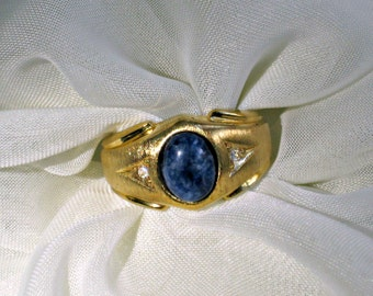 Signed s 9 Ring Lady Remington Vintage 80s Jewelry Lapis Lazuli