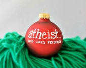 Funny christmas ornament holiday hand painted atheist humanist red white bulb ball glass decoration decor tree trim