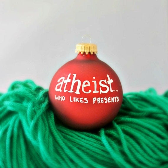 Funny christmas ornament holiday hand painted atheist humanist