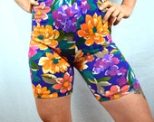 Vintage 80s 90s Floral Rainbow Neon Spandex Workout Shorts
