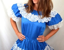 Vintage 1960s Lace Blue Square Dancing Dress