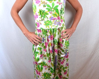 Vintage 1960s Floral Maxi Lingerie Nightgown Nightie Dress