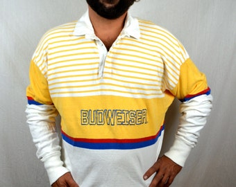 Nice 90s Vintage Budweiser Rugby Polo Collar by Dehen - XL