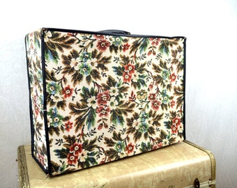 Lovely Vintage 60s Collapsible Floral Tapestry Carpet Mini Suitcase Luggage