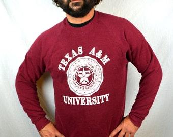 Vintage 80s Texas A & M University Maroon Sweatshirt