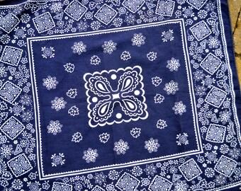 Vintage Fast Color Blue Cotton Bandana Kerchief