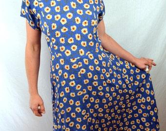 Vintage 90s Sunflower Summer Dress