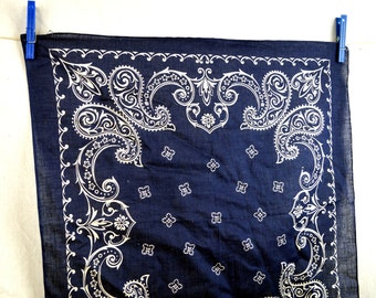 Vintage Fast Color Washfast Blue Cotton Bandana Kerchief Scarf