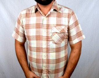 Vintage Levis Brown Summer Plaid Button Up Shirt