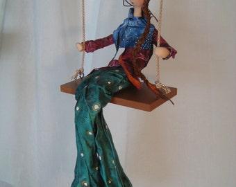 ooak art doll-doll-art doll-bleu -red- pink- orange-bird -marionnette- swing-balançoire- bird nest-figurine- puppet